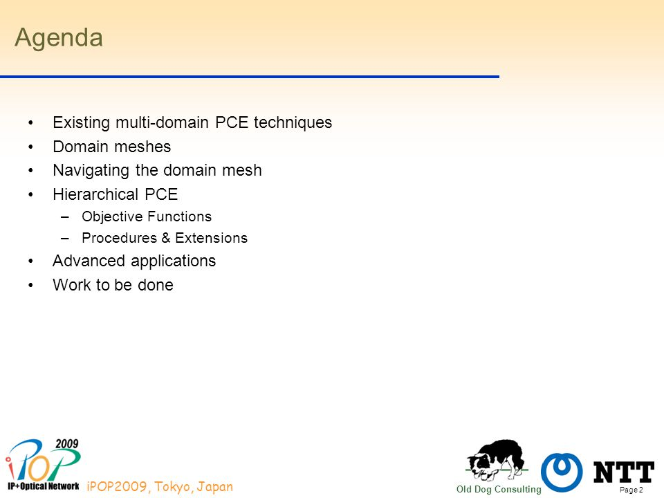 Page 2 iPOP2009, Tokyo, Japan Old Dog Consulting Agenda Existing multi-domain PCE techniques Domain meshes Navigating the domain mesh Hierarchical PCE –Objective Functions –Procedures & Extensions Advanced applications Work to be done