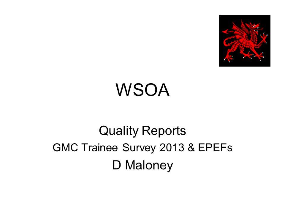 WSOA Quality Reports GMC Trainee Survey 2013 & EPEFs D Maloney