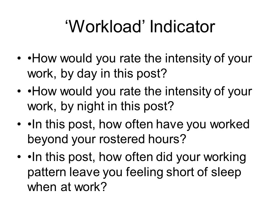 'Workload' Indicator How would you rate the intensity of your work, by day in this post.