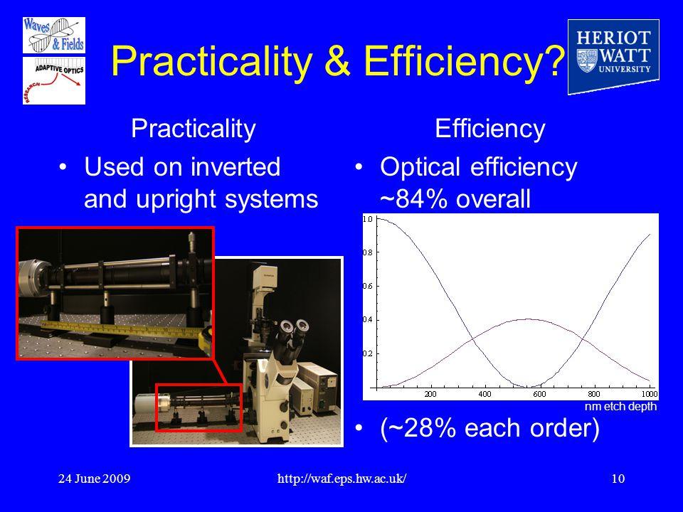 24 June 2009http://waf.eps.hw.ac.uk/10 Practicality & Efficiency.