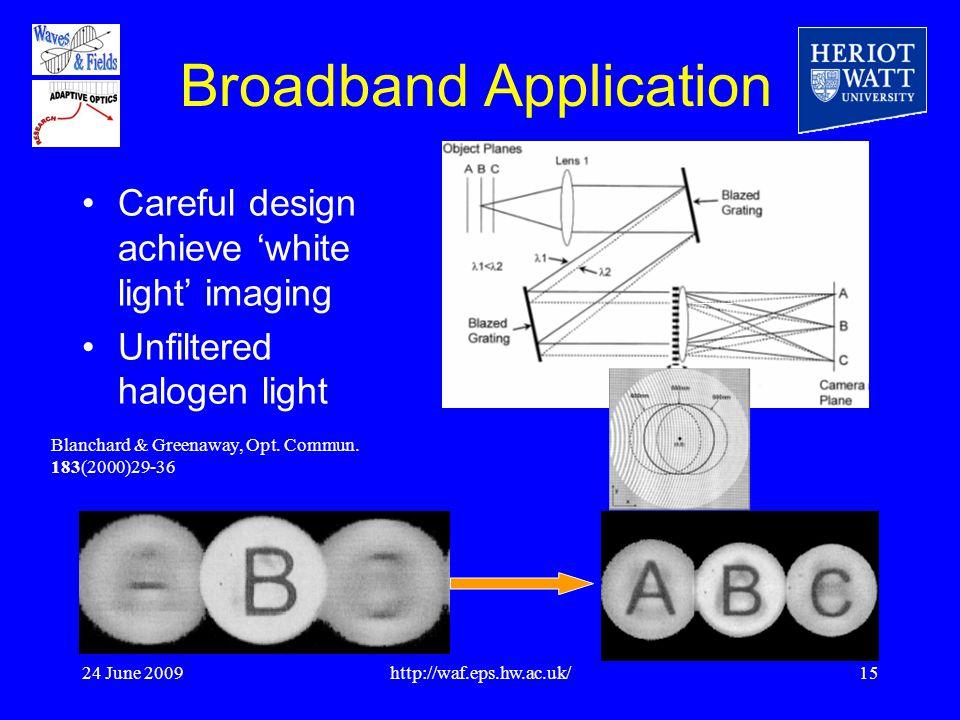 24 June 2009http://waf.eps.hw.ac.uk/15 Broadband Application Careful design achieve 'white light' imaging Unfiltered halogen light Blanchard & Greenaway, Opt.