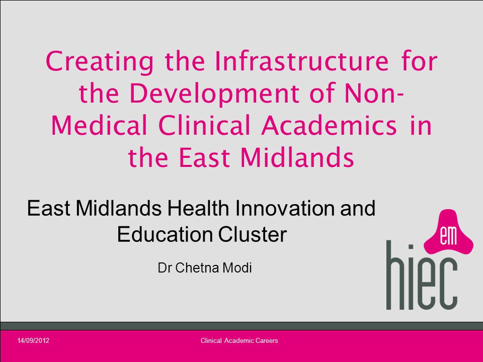 Creating the Infrastructure for the Development of Non- Medical Clinical Academics in the East Midlands East Midlands Health Innovation and Education Cluster Dr Chetna Modi 14/09/2012Clinical Academic Careers