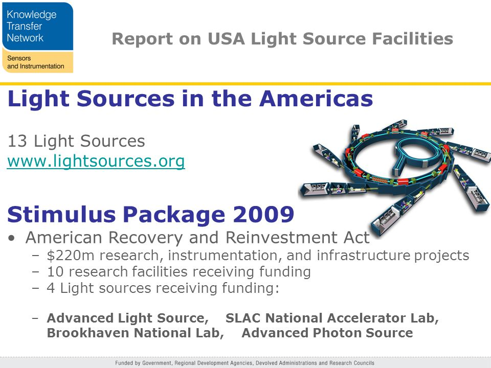 Light Sources in the Americas 13 Light Sources www.lightsources.org Stimulus Package 2009 American Recovery and Reinvestment Act –$220m research, instrumentation, and infrastructure projects –10 research facilities receiving funding –4 Light sources receiving funding: –Advanced Light Source, SLAC National Accelerator Lab, Brookhaven National Lab, Advanced Photon Source Report on USA Light Source Facilities