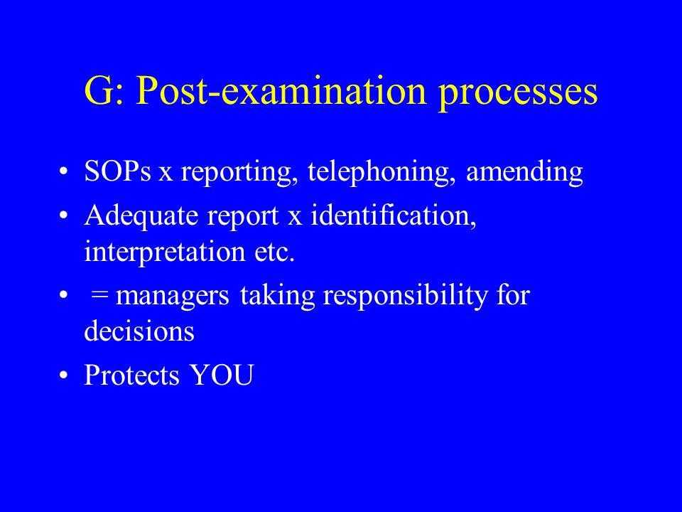 G: Post-examination processes SOPs x reporting, telephoning, amending Adequate report x identification, interpretation etc.