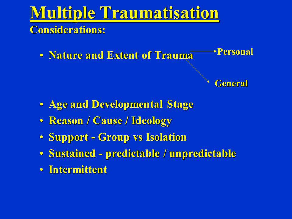 Multiple Traumatisation Considerations: Nature and Extent of TraumaNature and Extent of Trauma Age and Developmental StageAge and Developmental Stage