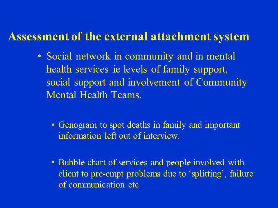 Assessment of the external attachment system Social network in community and in mental health services ie levels of family support, social support and