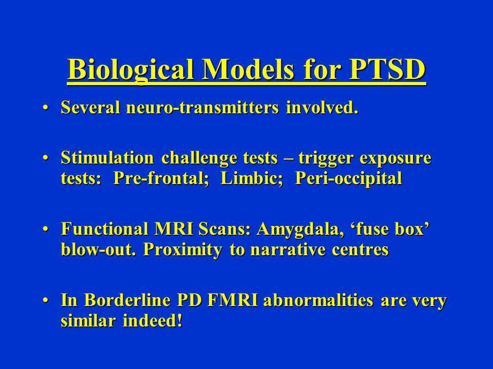 Differential Diagnosis - Multiple Traumatisation Complex PTSD Complex PTSD Psychotic Illnesses: Schizophrenia / Bip Aff Dis Psychotic Illnesses: Schizophrenia / Bip Aff Dis Borderline Personality Disorder Borderline Personality Disorder Dissociative Disorders Dissociative Disorders Enduring Personality Change After Catastrophic Stress Enduring Personality Change After Catastrophic Stress