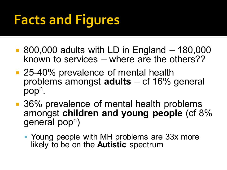  800,000 adults with LD in England – 180,000 known to services – where are the others??  25-40% prevalence of mental health problems amongst adults