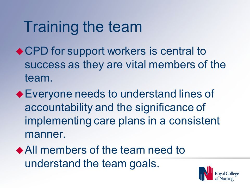 Training the team u CPD for support workers is central to success as they are vital members of the team.