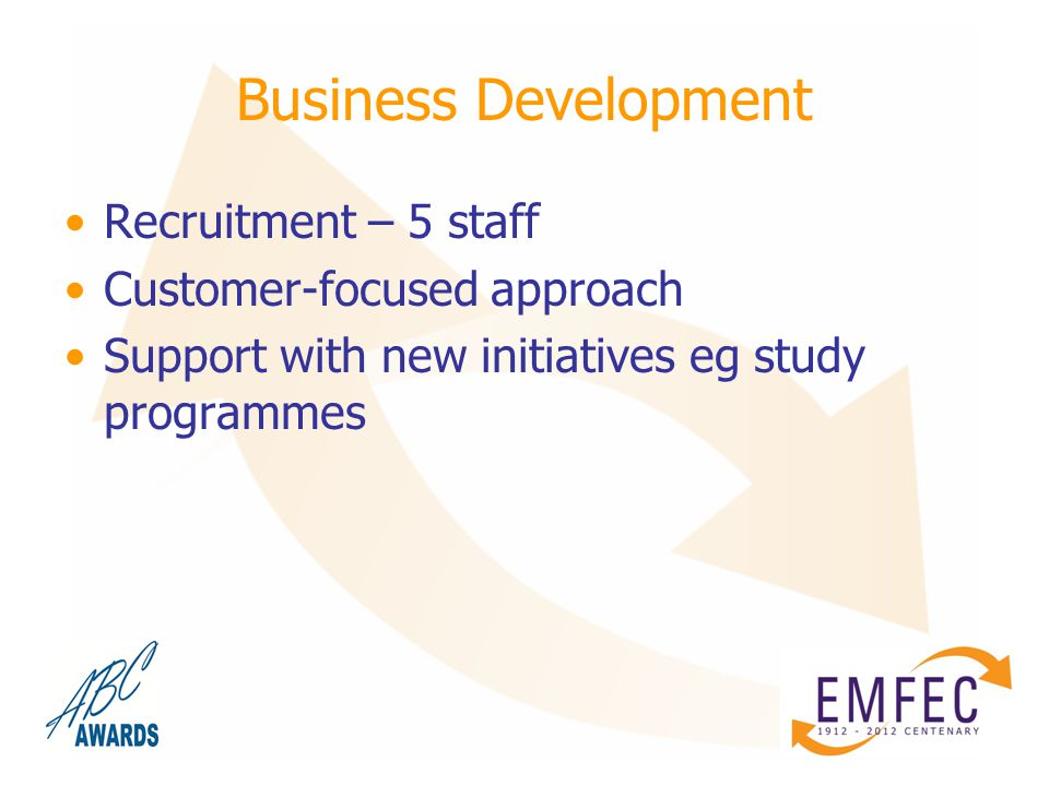 Business Development Recruitment – 5 staff Customer-focused approach Support with new initiatives eg study programmes