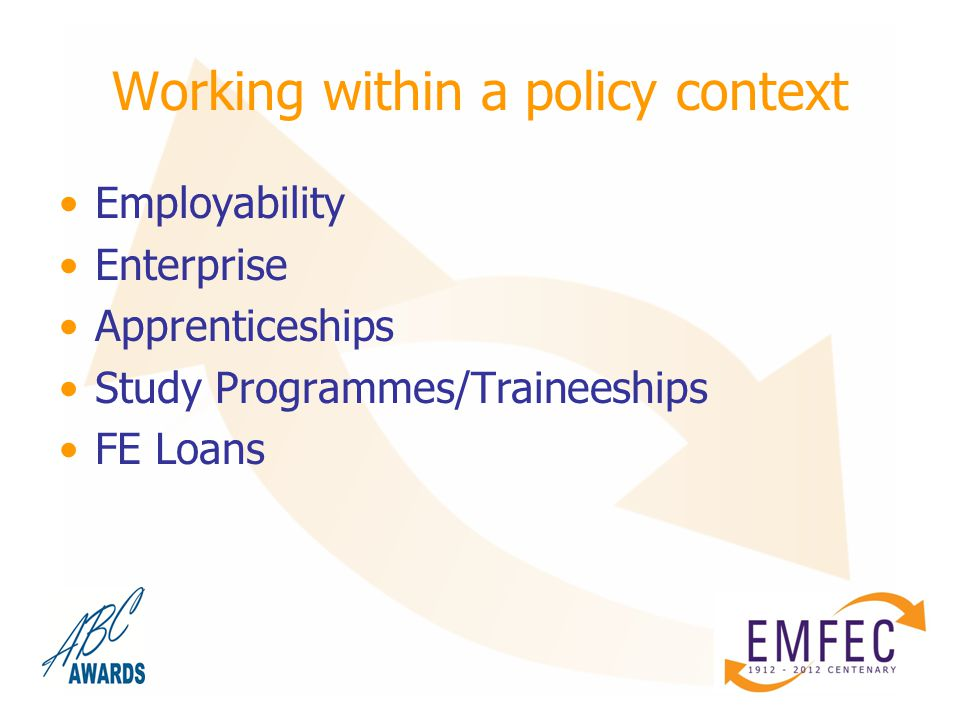 Working within a policy context Employability Enterprise Apprenticeships Study Programmes/Traineeships FE Loans