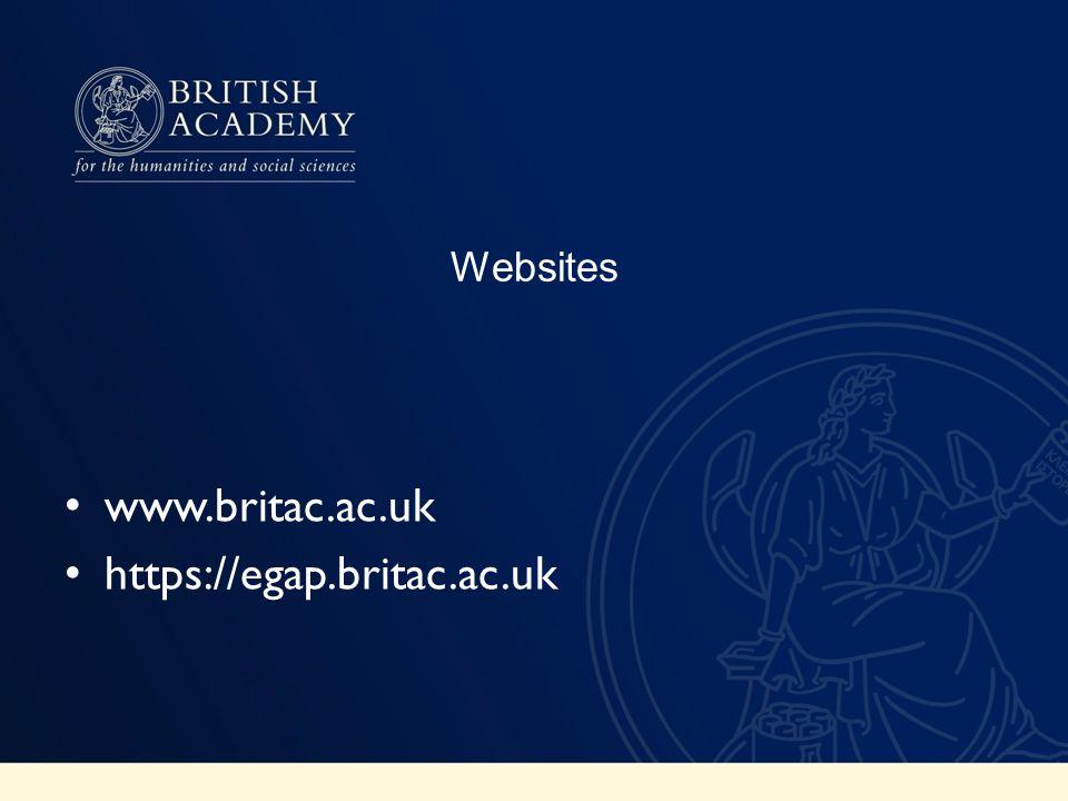 Websites www.britac.ac.uk https://egap.britac.ac.uk
