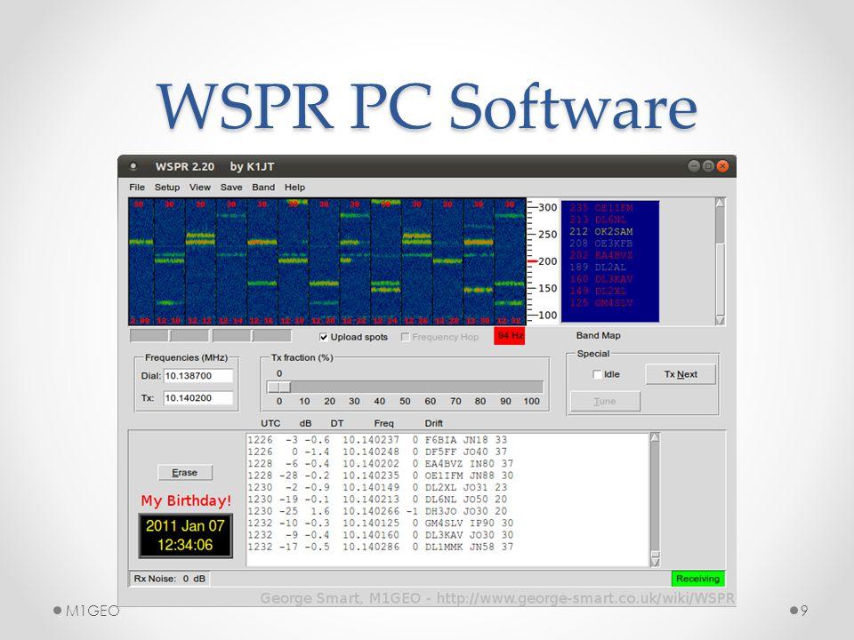 WSPR Spot Map 10M1GEO