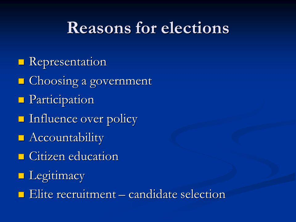 Reasons for elections Representation Representation Choosing a government Choosing a government Participation Participation Influence over policy Influence over policy Accountability Accountability Citizen education Citizen education Legitimacy Legitimacy Elite recruitment – candidate selection Elite recruitment – candidate selection