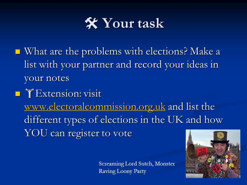  Your task What are the problems with elections.