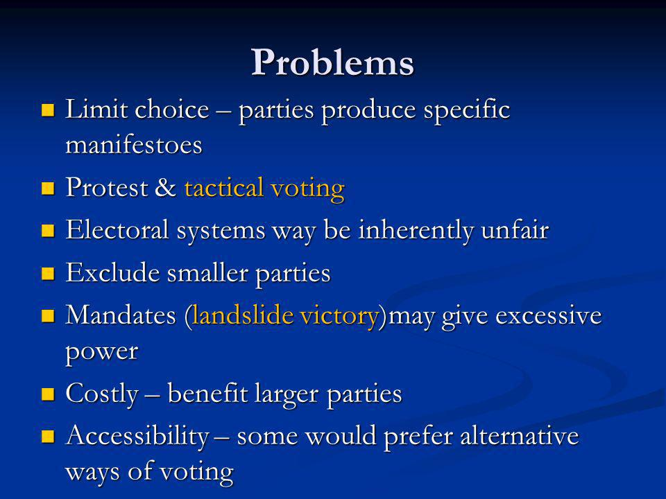 Your task Read p.38 (Bennett) and complete a chart similar to the one below: Read p.38 (Bennett) and complete a chart similar to the one below:  See next slide>>>  See next slide>>> TypeWhoHow oftenOther points General election European Parliament Devolved Assemblies Local elections By-elections
