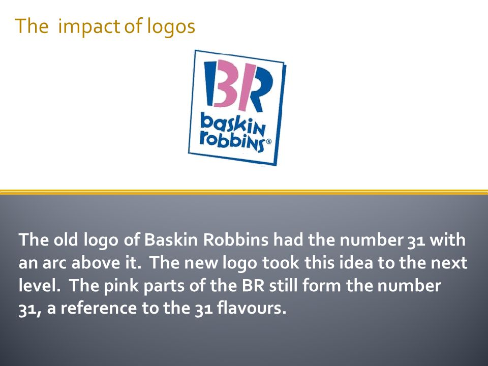 The impact of logos The old logo of Baskin Robbins had the number 31 with an arc above it. The new logo took this idea to the next level. The pink par