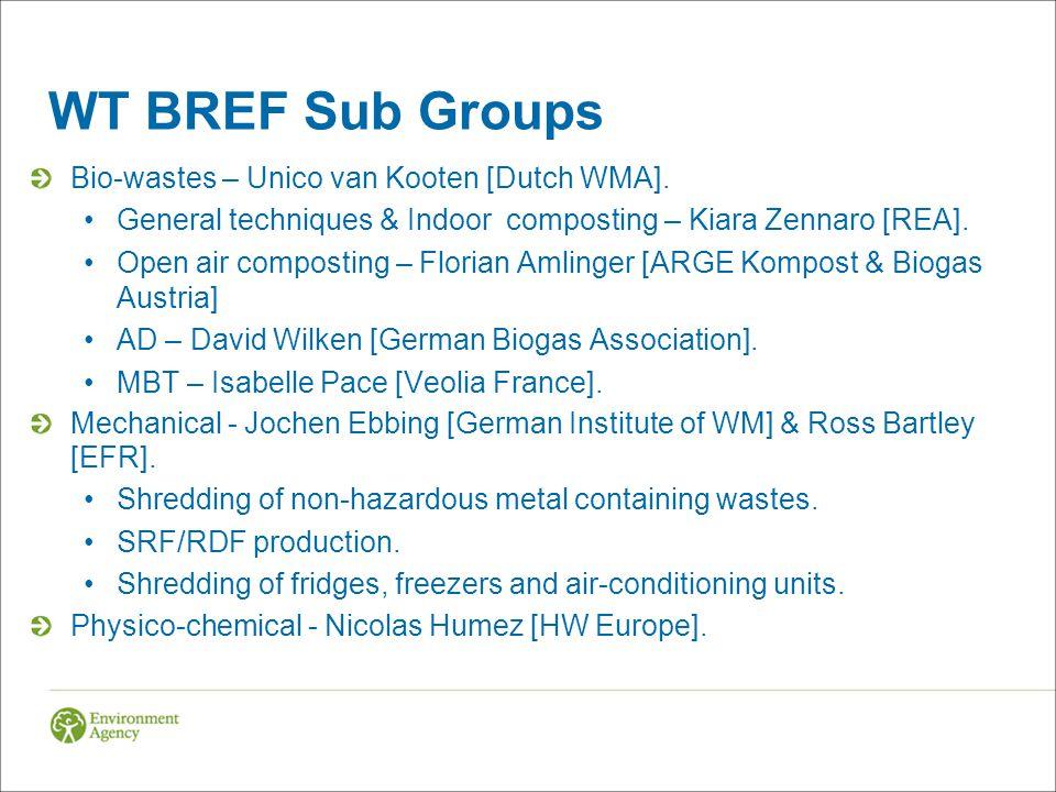 WT BREF Sub Groups Bio-wastes – Unico van Kooten [Dutch WMA]. General techniques & Indoor composting – Kiara Zennaro [REA]. Open air composting – Flor