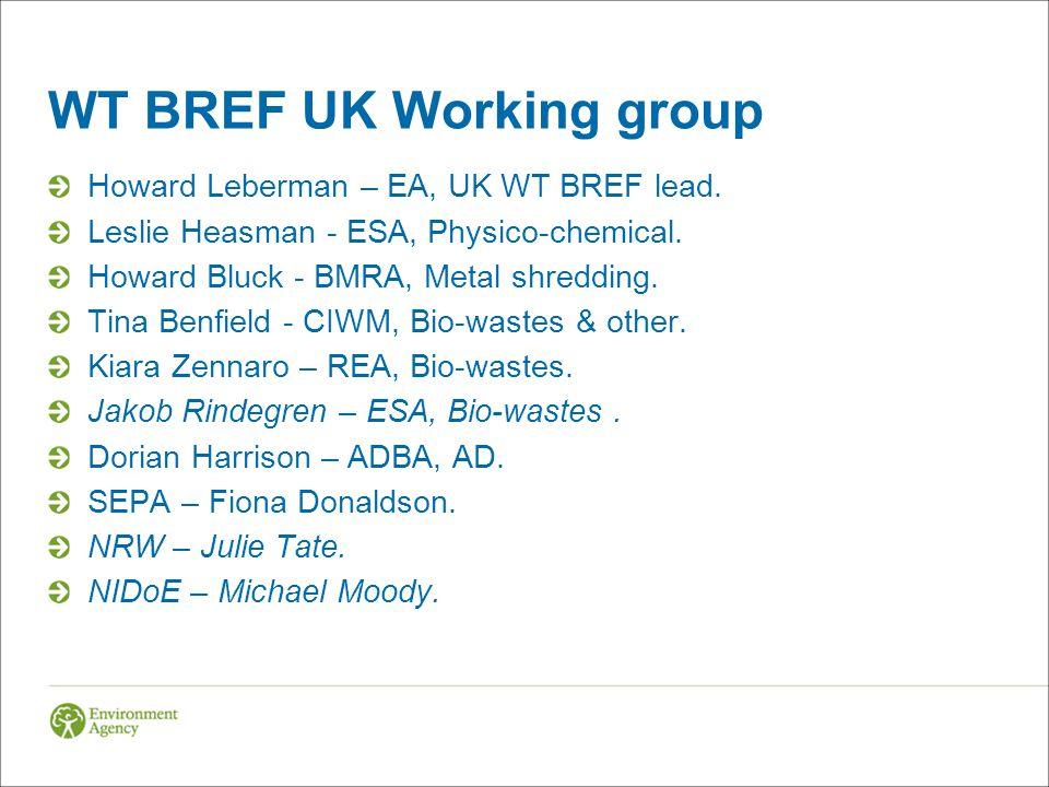 WT BREF UK Working group Howard Leberman – EA, UK WT BREF lead. Leslie Heasman - ESA, Physico-chemical. Howard Bluck - BMRA, Metal shredding. Tina Ben