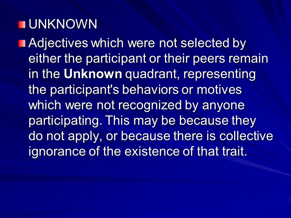UNKNOWN Adjectives which were not selected by either the participant or their peers remain in the Unknown quadrant, representing the participant's beh