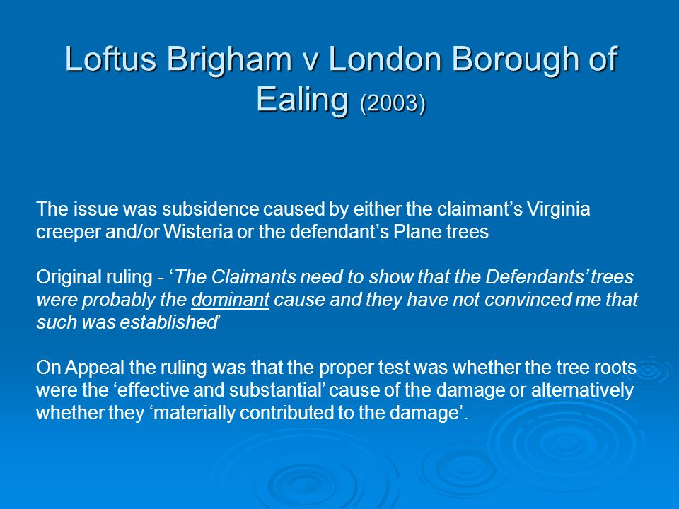 Loftus Brigham v London Borough of Ealing (2003) The issue was subsidence caused by either the claimant's Virginia creeper and/or Wisteria or the defe