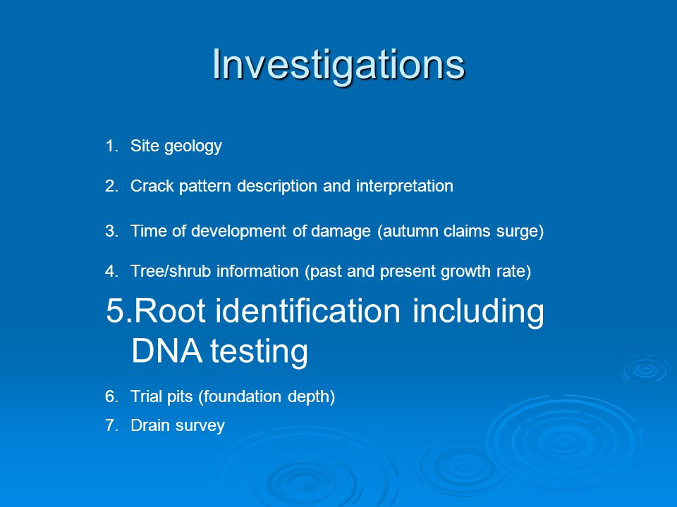 Investigations 1.Site geology 2.Crack pattern description and interpretation 3.Time of development of damage (autumn claims surge) 4.Tree/shrub information (past and present growth rate) 5.Root identification including DNA testing 6.Trial pits (foundation depth) 7.Drain survey