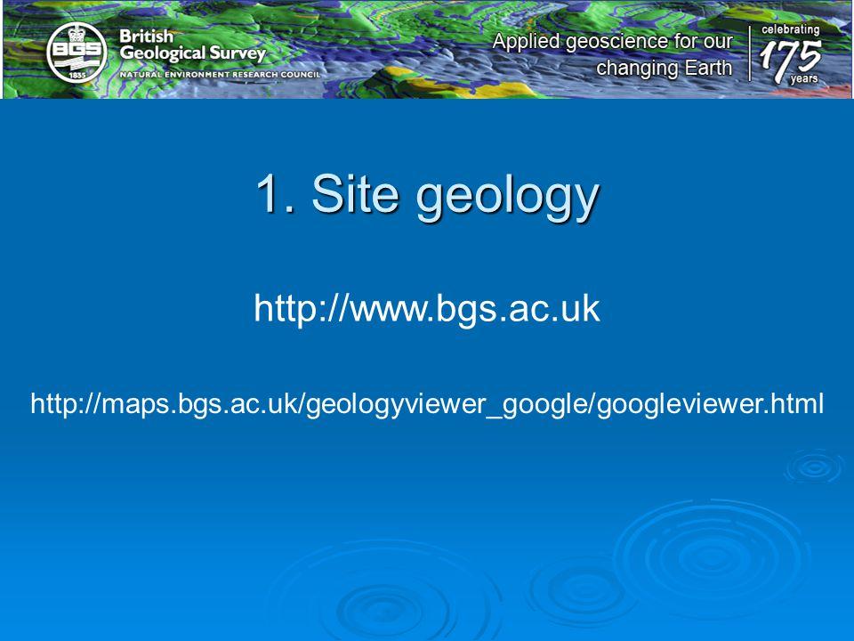 http://maps.bgs.ac.uk/geologyviewer_google/googleviewer.html http://www.bgs.ac.uk 1. Site geology