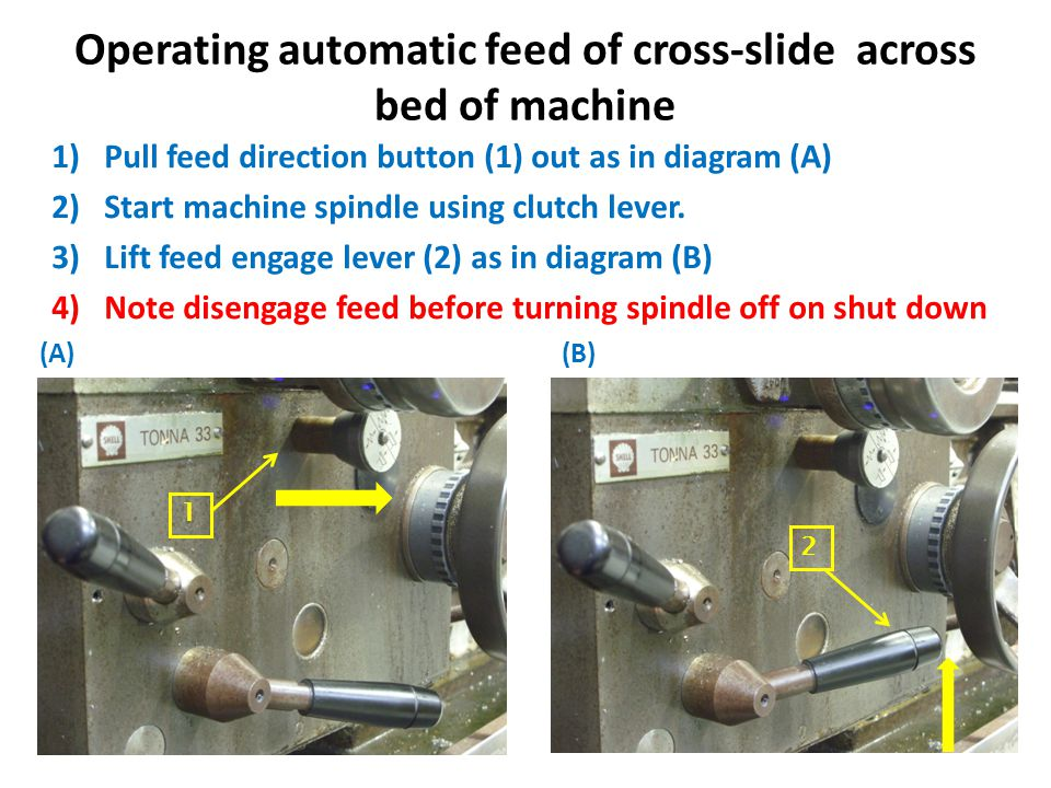 Drilling holes in material using Tailstock Rotate hand-wheel (A) on tailstock clockwise until scale on quill (B) is visible as in diagram below Insert chuck with centre drill fitted into quill ensuring tang lines up correctly as below.