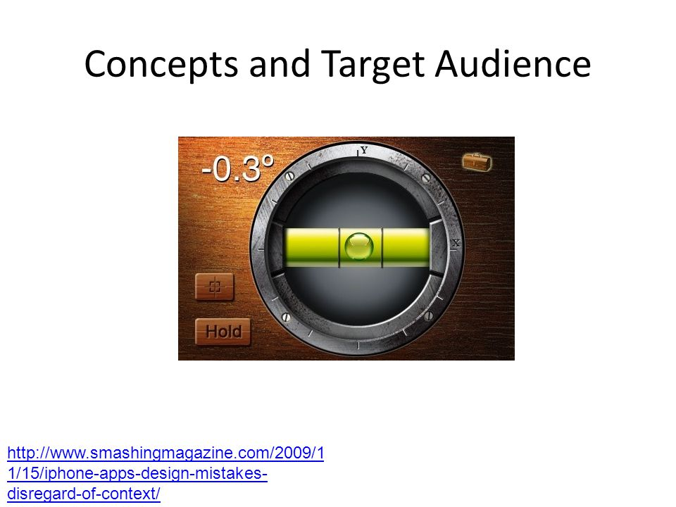 Concepts and Target Audience http://www.smashingmagazine.com/2009/1 1/15/iphone-apps-design-mistakes- disregard-of-context/