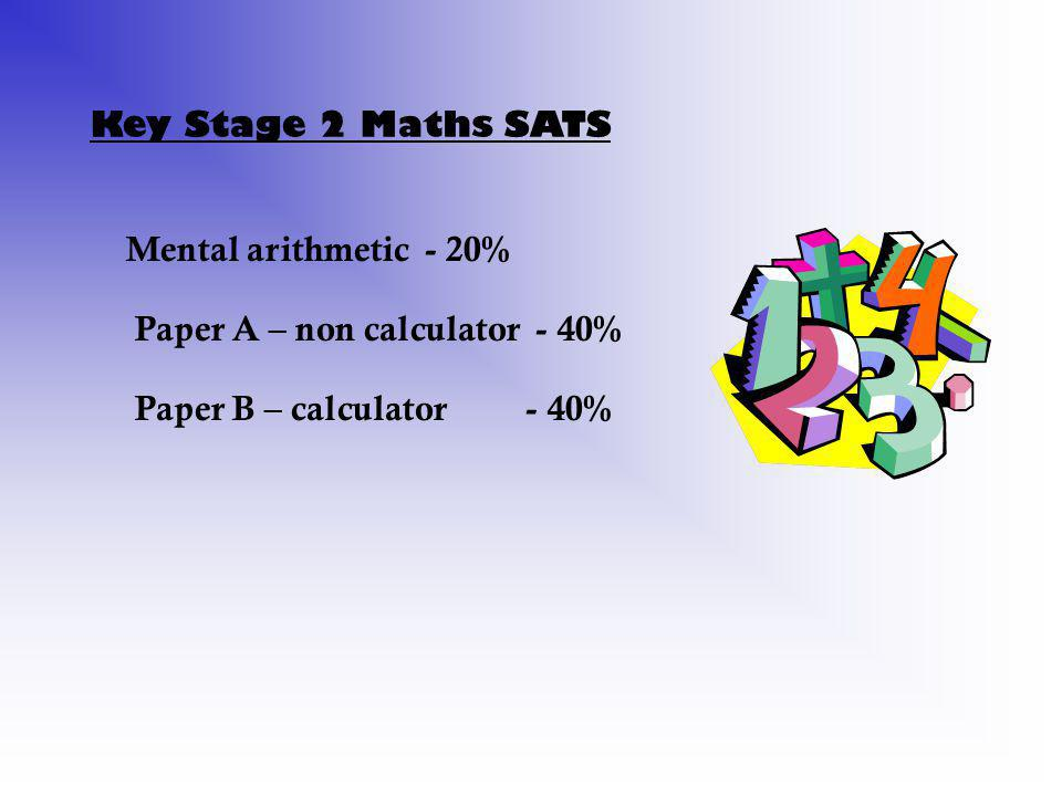 Key Stage 2 Maths SATS Mental arithmetic - 20% Paper A – non calculator - 40% Paper B – calculator - 40%