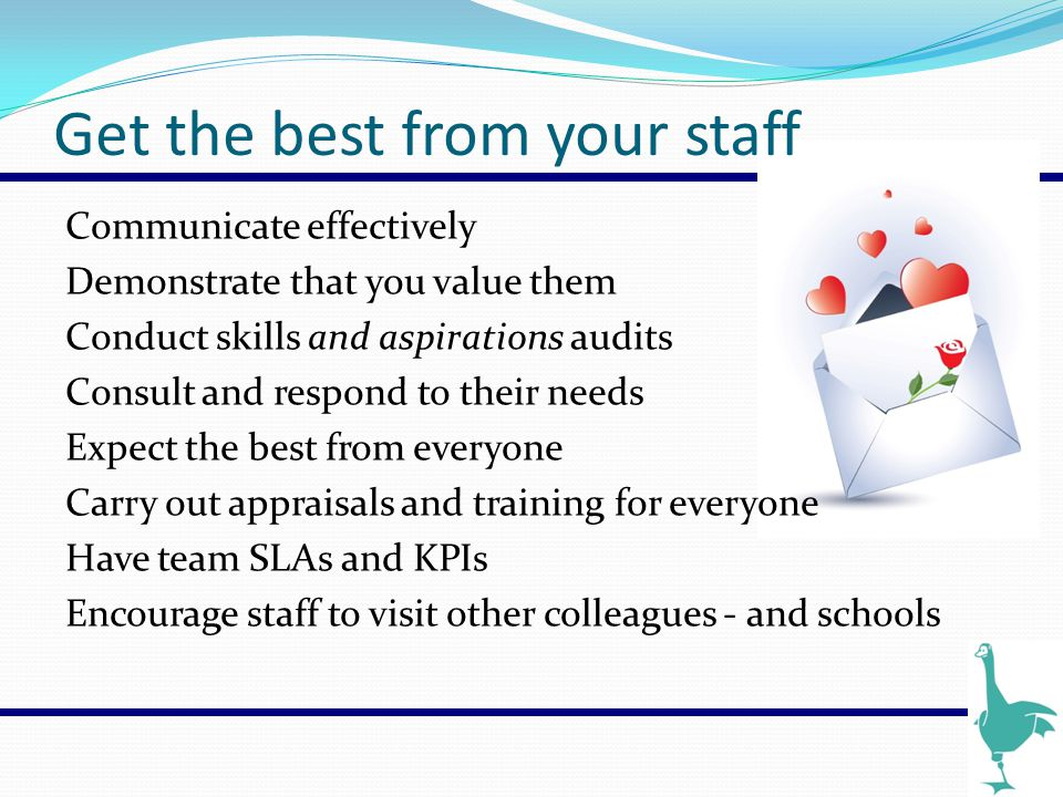 Get the best from your staff Communicate effectively Demonstrate that you value them Conduct skills and aspirations audits Consult and respond to thei