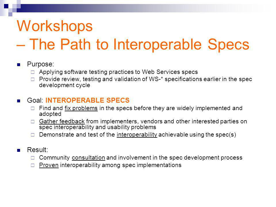 Workshops – The Path to Interoperable Specs Purpose:  Applying software testing practices to Web Services specs  Provide review, testing and validation of WS-* specifications earlier in the spec development cycle Goal: INTEROPERABLE SPECS  Find and fix problems in the specs before they are widely implemented and adopted  Gather feedback from implementers, vendors and other interested parties on spec interoperability and usability problems  Demonstrate and test of the interoperability achievable using the spec(s) Result:  Community consultation and involvement in the spec development process  Proven interoperability among spec implementations