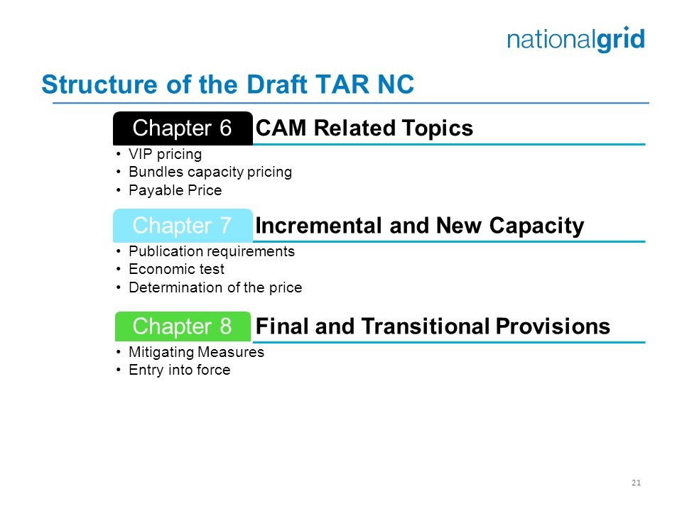 21 CAM Related Topics Chapter 6 VIP pricing Bundles capacity pricing Payable Price Incremental and New Capacity Chapter 7 Publication requirements Eco