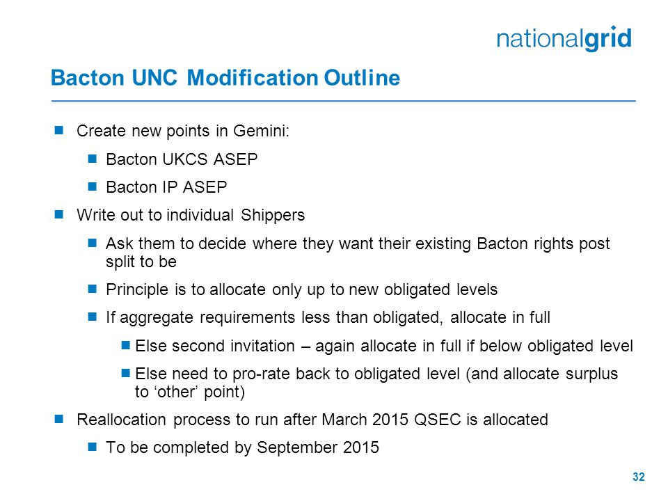 32 Bacton UNC Modification Outline  Create new points in Gemini:  Bacton UKCS ASEP  Bacton IP ASEP  Write out to individual Shippers  Ask them to