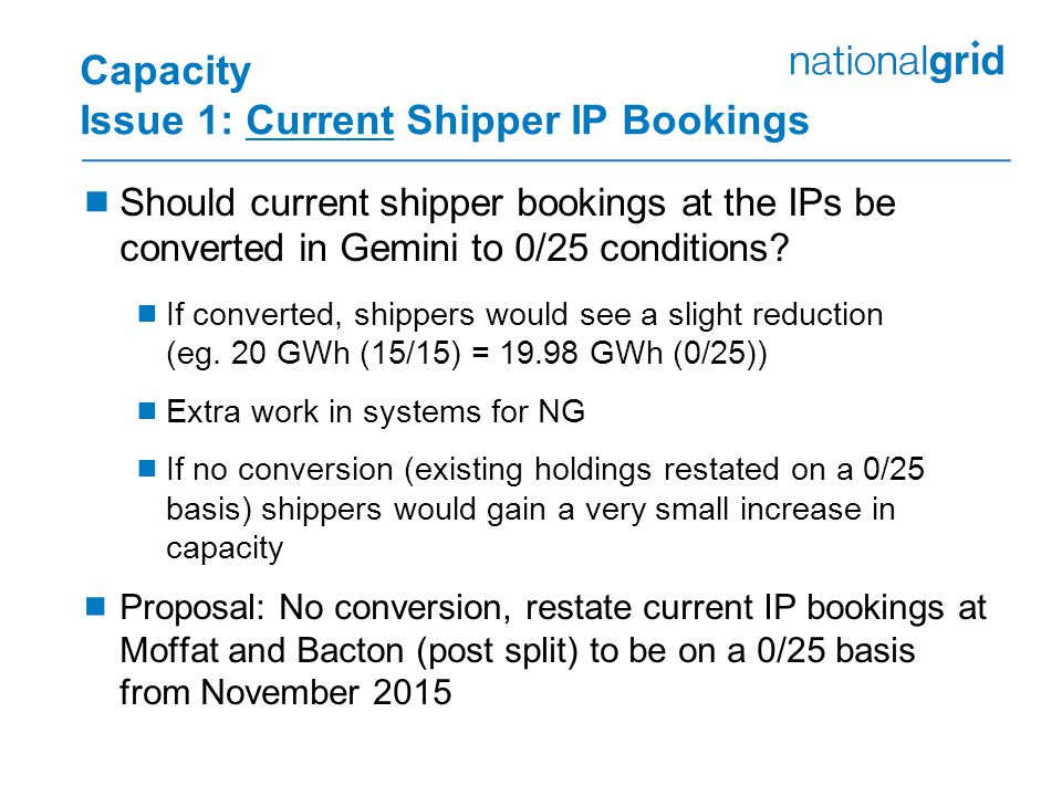 Capacity Issue 1: Current Shipper IP Bookings  Should current shipper bookings at the IPs be converted in Gemini to 0/25 conditions.