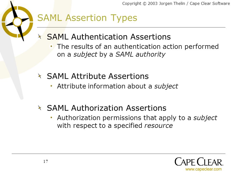 Copyright © 2003 Jorgen Thelin / Cape Clear Software 17 SAML Assertion Types SAML Authentication Assertions The results of an authentication action performed on a subject by a SAML authority SAML Attribute Assertions Attribute information about a subject SAML Authorization Assertions Authorization permissions that apply to a subject with respect to a specified resource