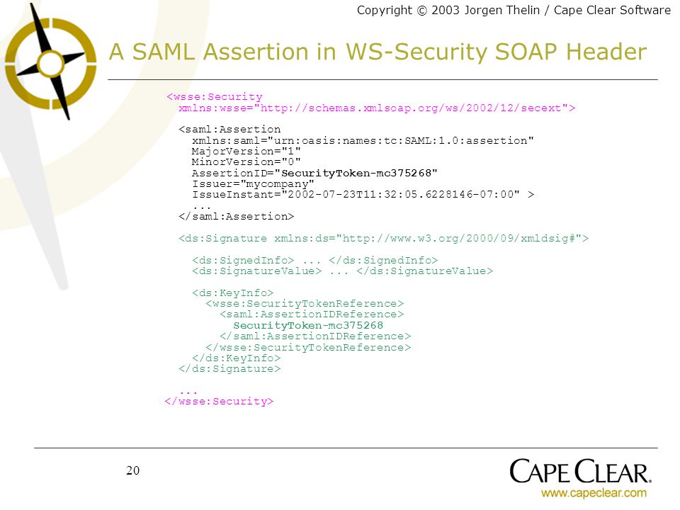 Copyright © 2003 Jorgen Thelin / Cape Clear Software 20 A SAML Assertion in WS-Security SOAP Header.........