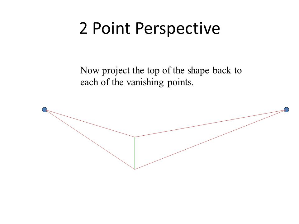 2 Point Perspective Now project the top of the shape back to each of the vanishing points.