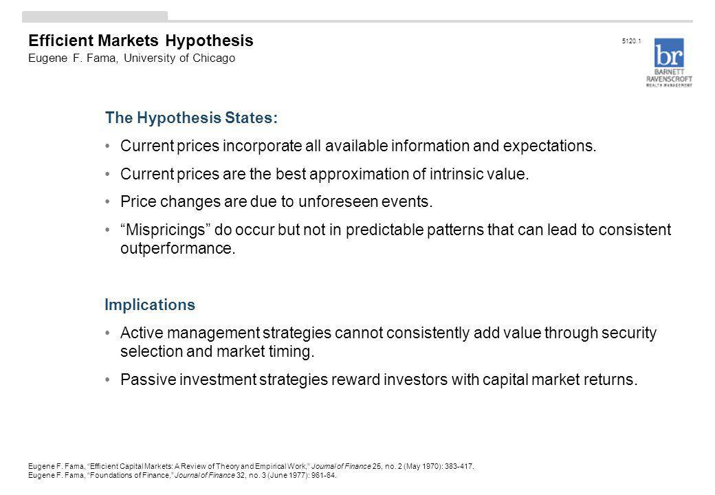 Efficient Markets Hypothesis Eugene F. Fama, University of Chicago The Hypothesis States: Current prices incorporate all available information and exp