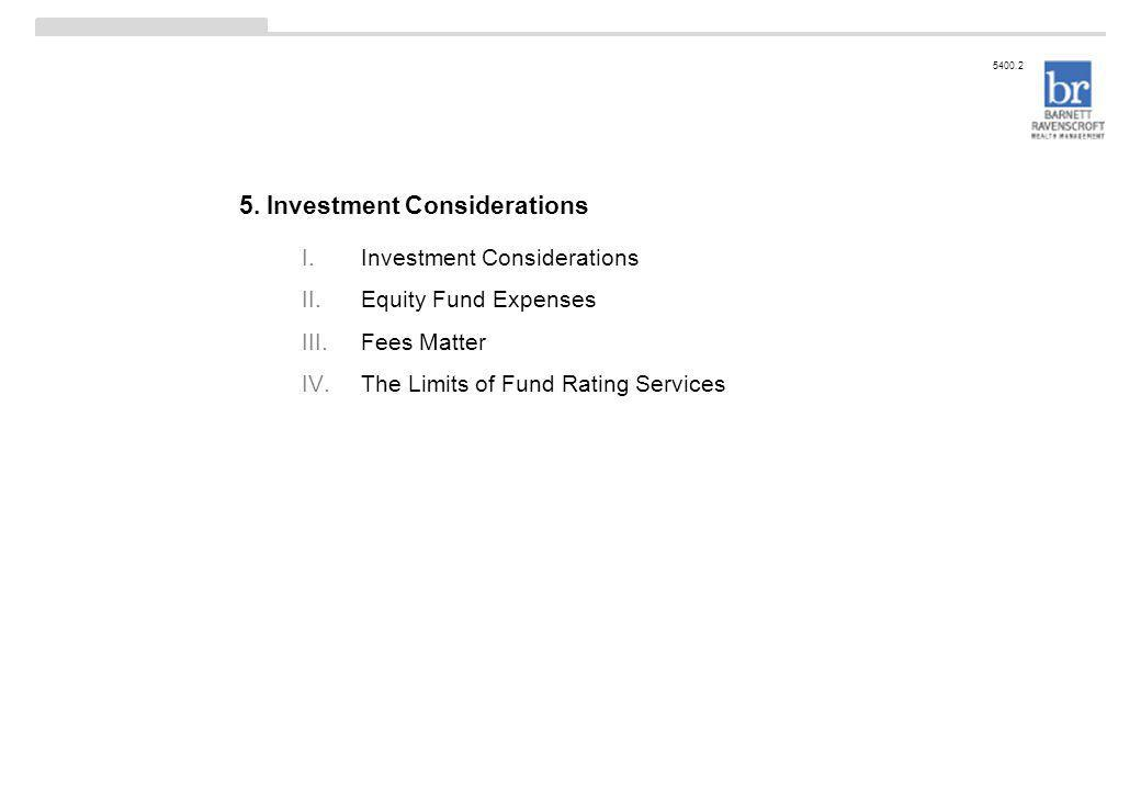 5. Investment Considerations 5400.2 I.Investment Considerations II.Equity Fund Expenses III.Fees Matter IV.The Limits of Fund Rating Services