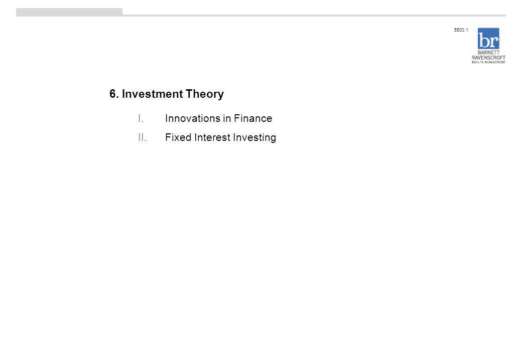 6. Investment Theory 5500.1 I.Innovations in Finance II.Fixed Interest Investing