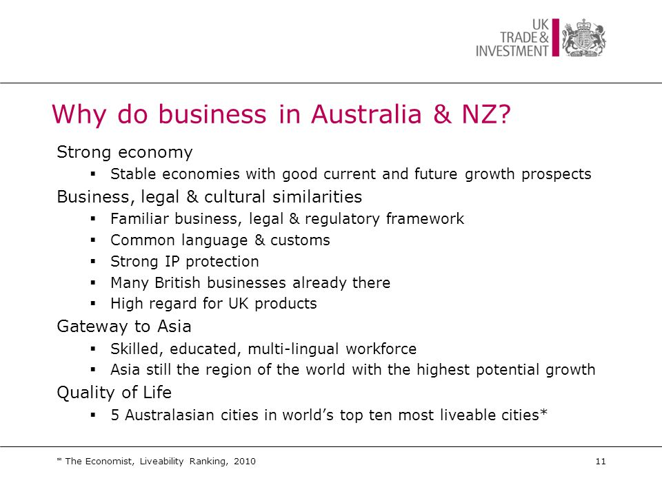 Why do business in Australia & NZ.