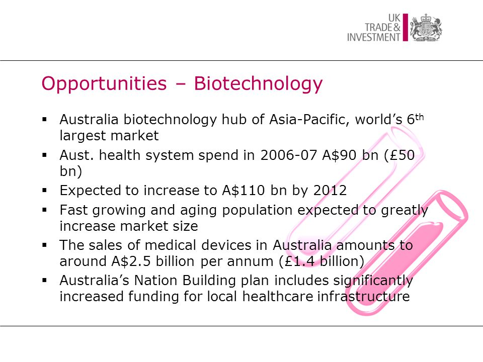 Opportunities – Biotechnology  Australia biotechnology hub of Asia-Pacific, world's 6 th largest market  Aust.