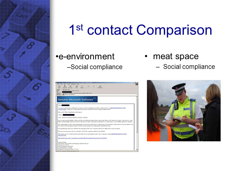 1 st contact Comparison meat space –Social compliance e-environment –Social compliance
