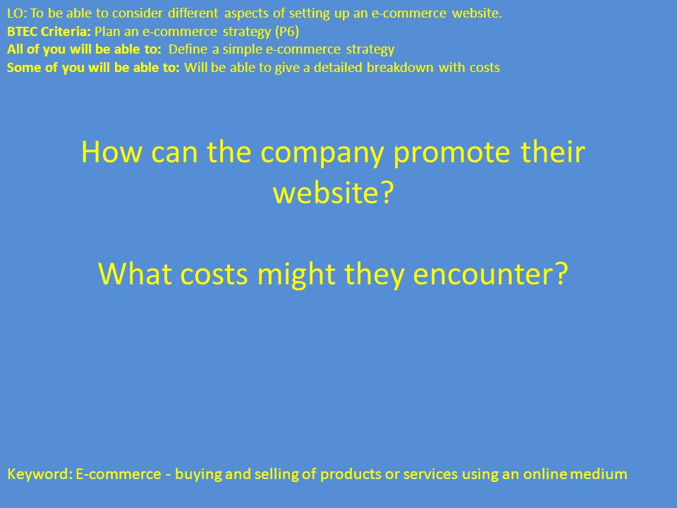 How can the company promote their website. What costs might they encounter.