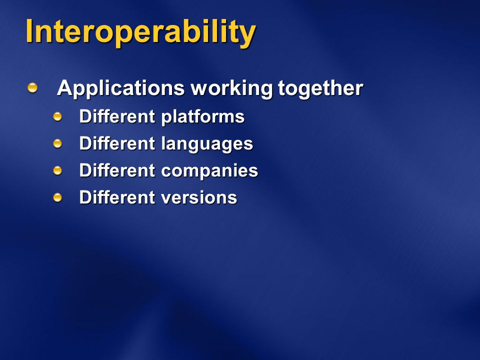 Interoperability Applications working together Different platforms Different languages Different companies Different versions