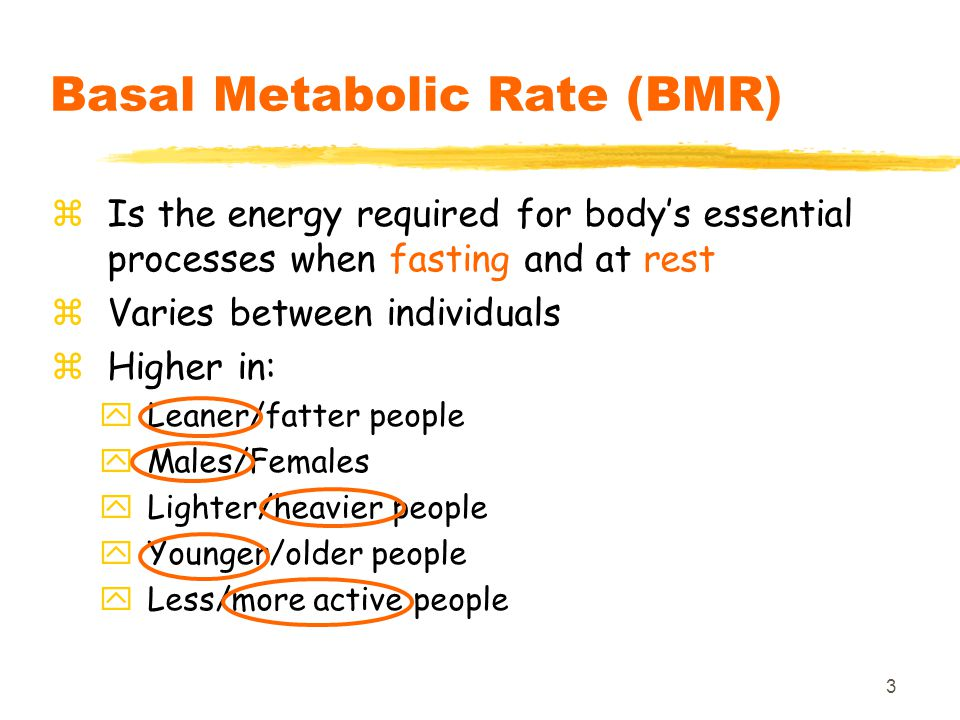 24 Factors affecting total EE zBody size zBody composition zAge zGender zNutritional status zPregnancy & lactation both increase total EE zActivity zClimate
