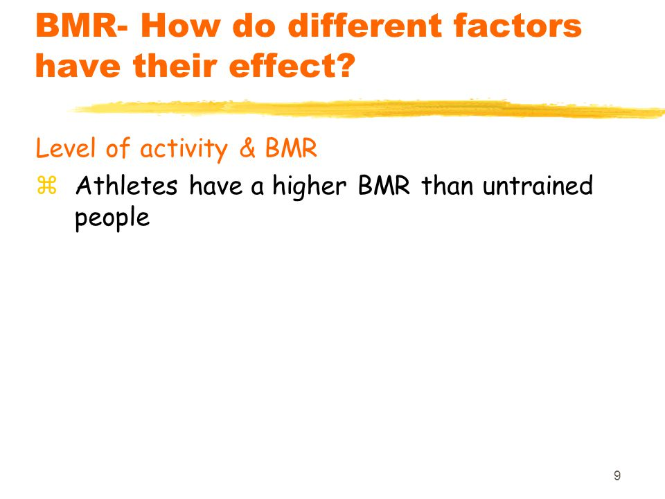 20 Effects of Physical Activity zIndividuals own BMR zOften expressed as a multiple of BMR  Physical Activity Ratio (PAR) zE.g.