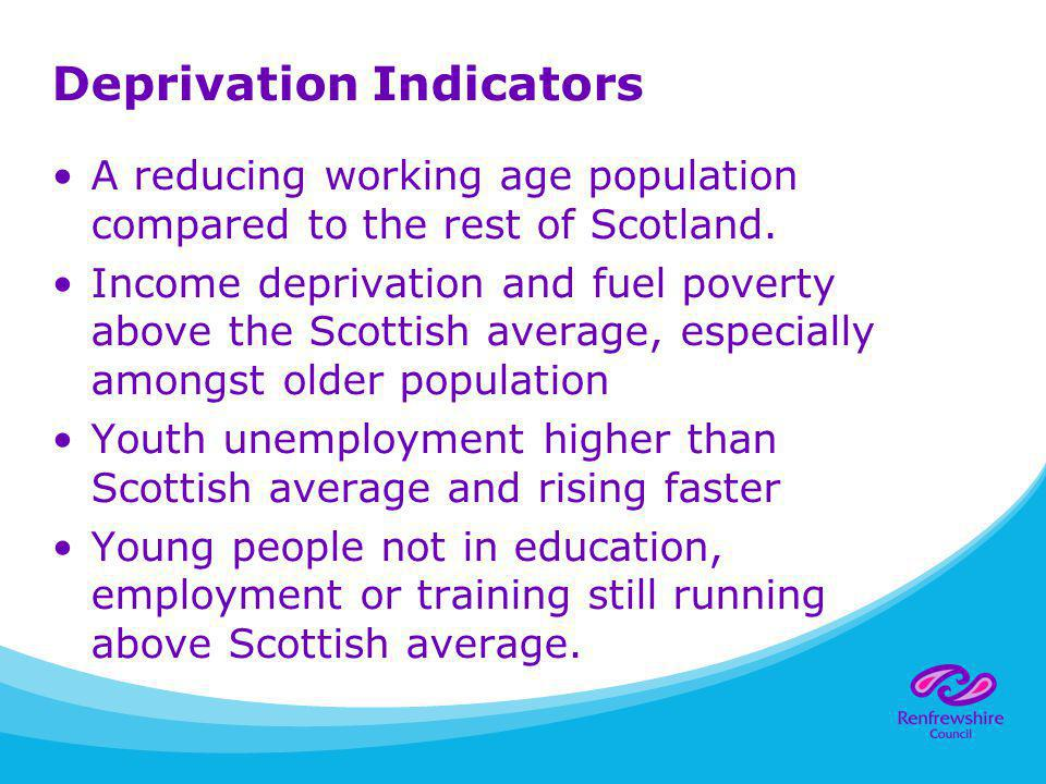 Deprivation Indicators A reducing working age population compared to the rest of Scotland. Income deprivation and fuel poverty above the Scottish aver