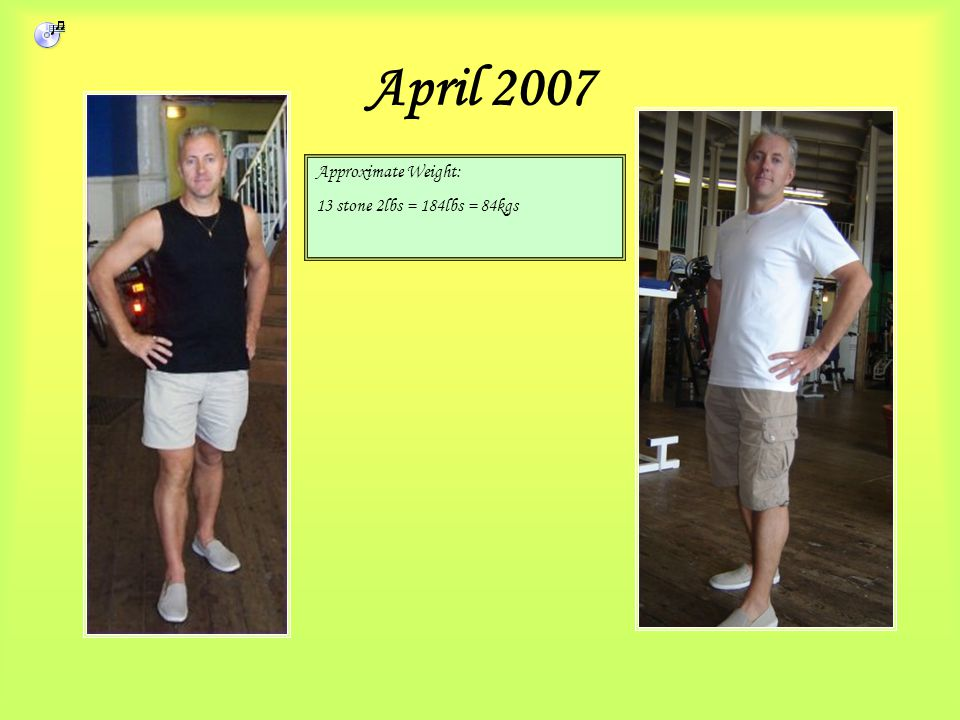April 2007 Approximate Weight: 13 stone 2lbs = 184lbs = 84kgs